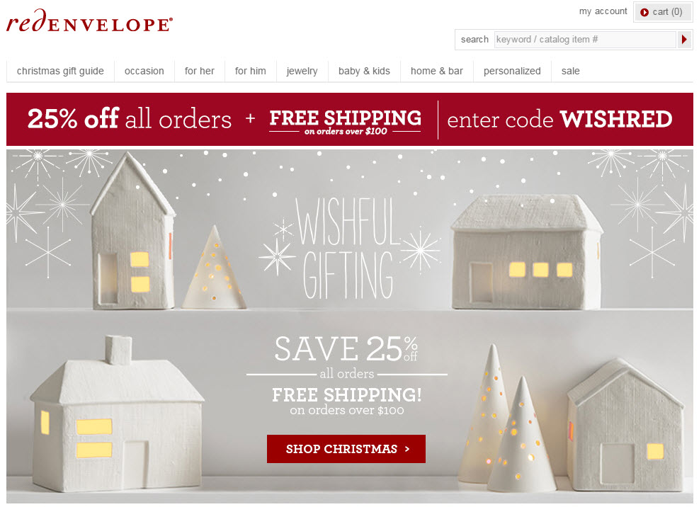 Top of page banners are perfect for conveying deals and money saving policies. Source: RedEnvelope.com.