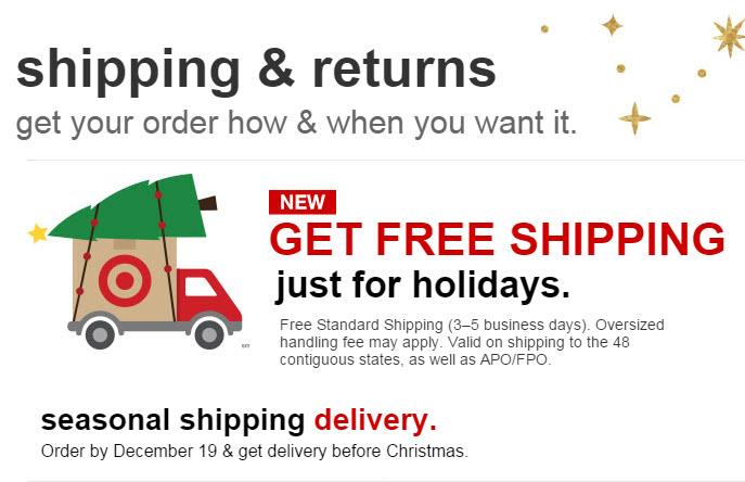 Big stores like Target.com alter shipping policies during the holiday shopping season. Smaller businesses can benefit even if free shipping requires a minimum order subtotal.
