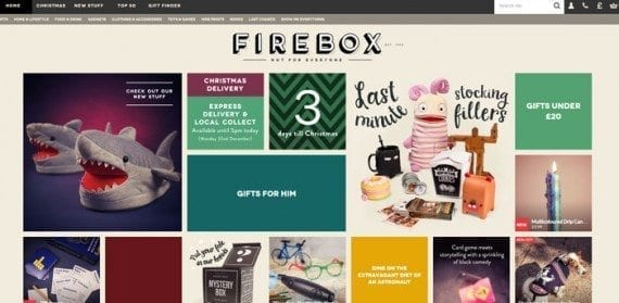 The Firebox website's responsive design is not just great for mobile devices, rather it also fills up larger screens.