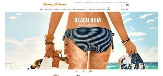 The Tommy Bahama website uses large images on its home page.