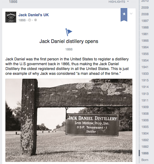 Jack Daniel's timeline includes the date when the distillery opened, with a photo from company's headquarters.