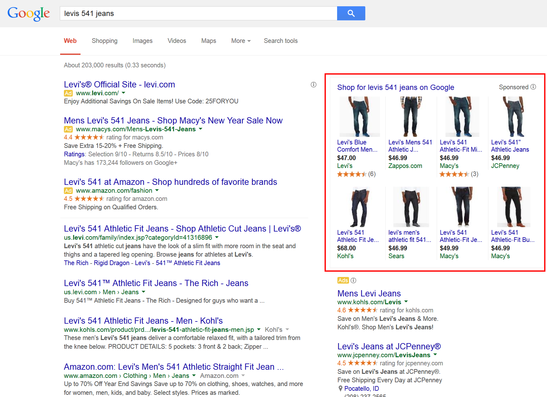 "Product ads (on top right, in the red box) for the term """"levis 541 jeans,"" in Google search results."