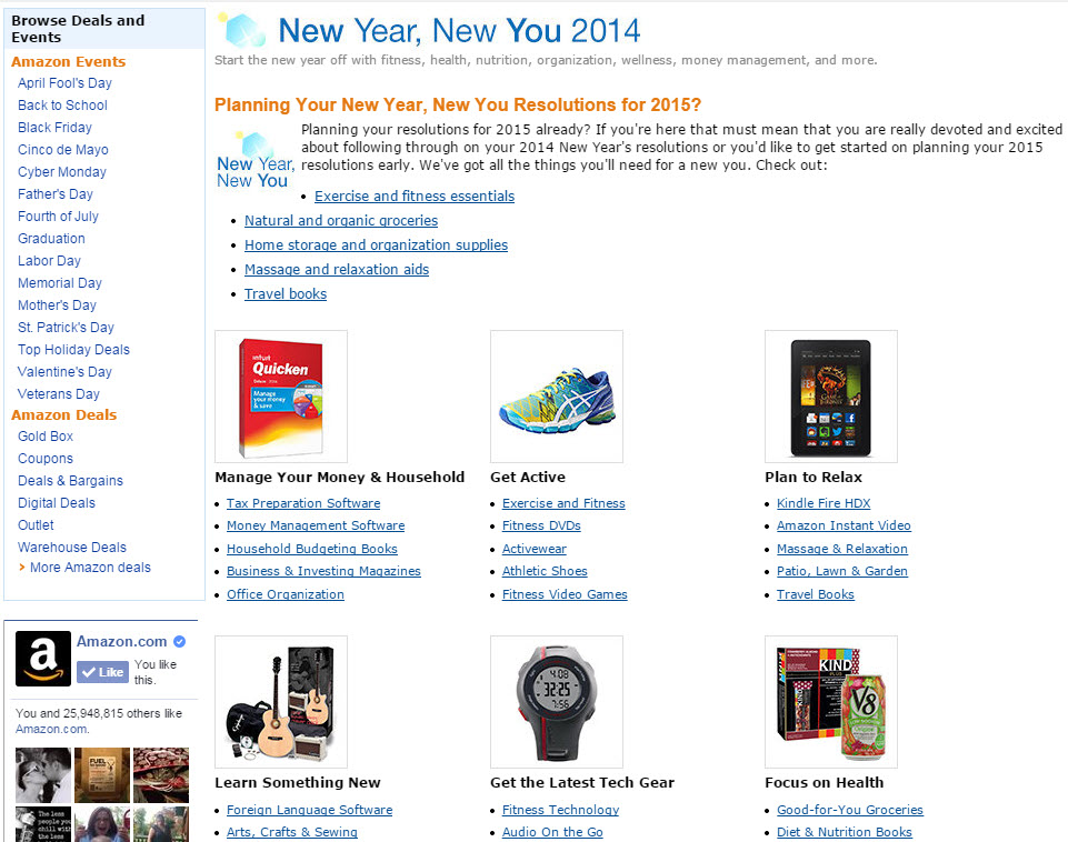 Amazon hosts a section dedicated to common New Year resolutions.