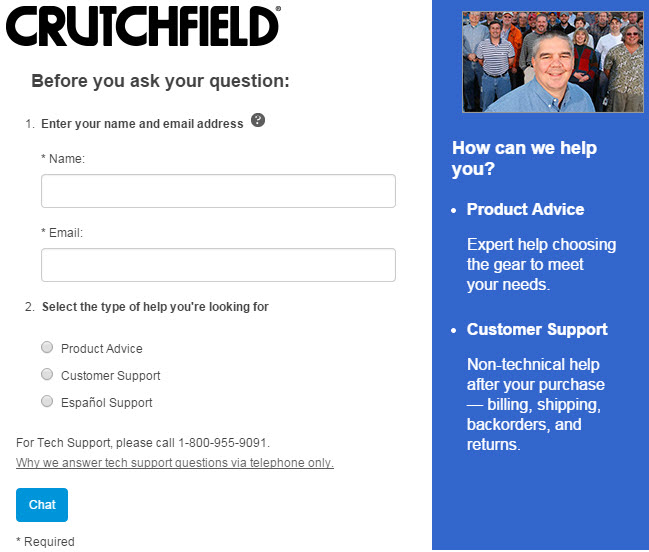 Crutchfield makes it easy for shoppers to ask just about anything.