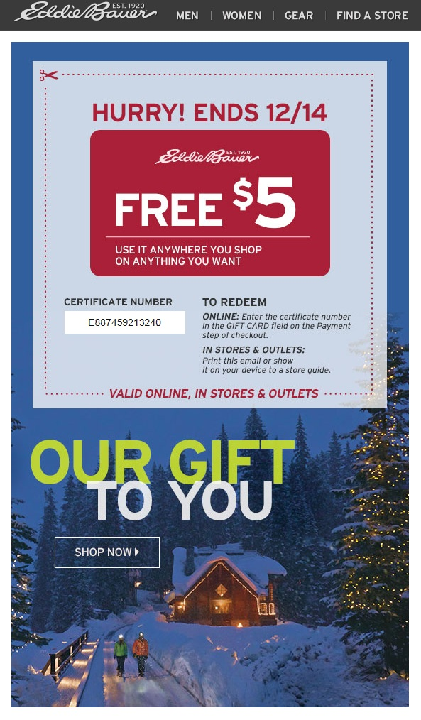 Giving $5 off with no minimum order amount or other limitations makes it easy to understand, and increases the chances for a sale, as shown in this email from Eddie Bauer.