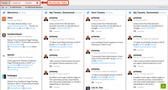 Hootsuite interface is organized by tabs