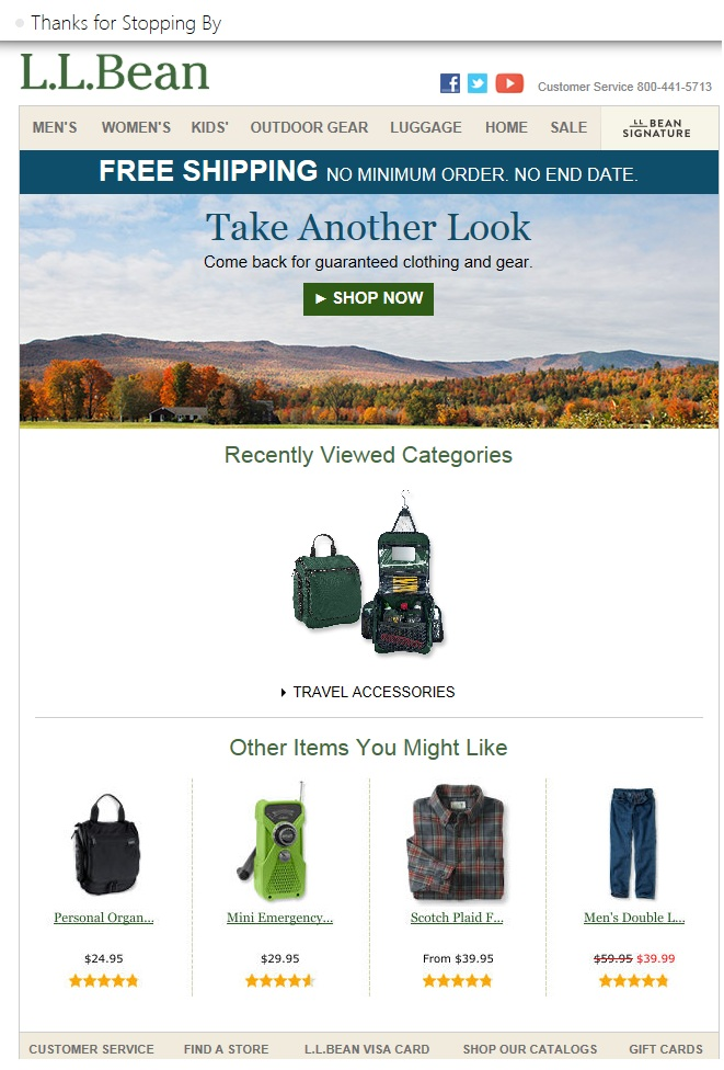 "The author received this email from L.L. Bean after she abandoned the site. The subject line read ""Thanks for stopping by."""