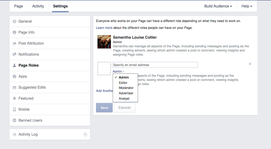"""To review administrative settings on Facebook, go to """"Settings"""" and then select """"Page Roles."""""""