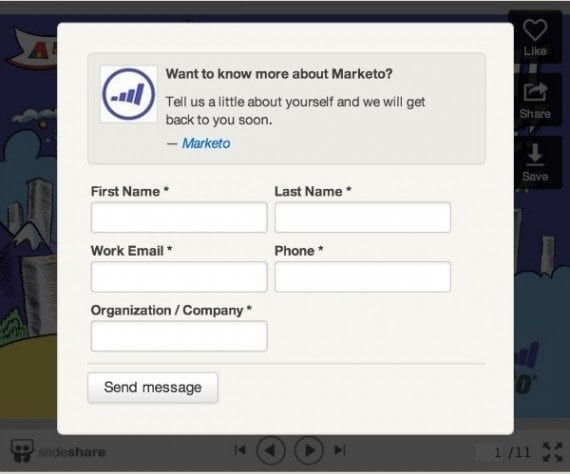 SlideShare's lead generation form option captures visitor data.