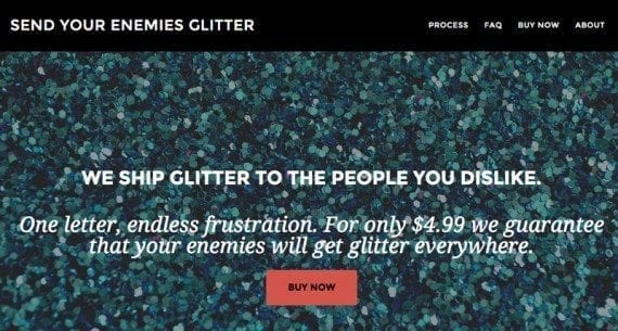 The Send Your Enemies Glitter site earned more than $20,000 in sales in just four days.