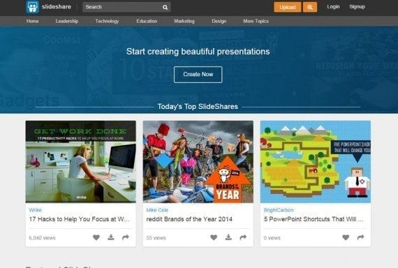 SlideShare allows users to upload and share presentations and videos.