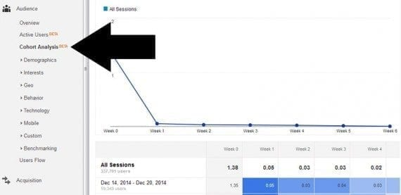 The cohort analysis is in Analytics' Audience section.