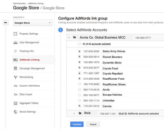 The new linking process allows bulk linking of AdWords accounts at a single go within Google Analytics.