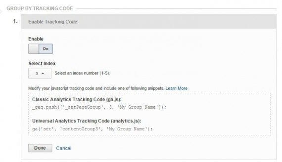Group by tracking code.