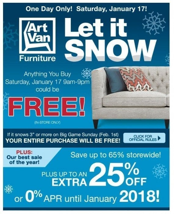 This email from Art Van Furniture provides opportunities to follow up after the promotion is over.