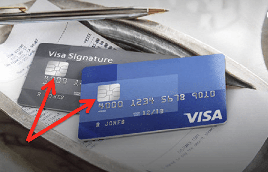 EMV-enabled credit cards have a microchip inserted in the plastic.  Source: Visa.