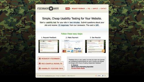 Feedback Army website