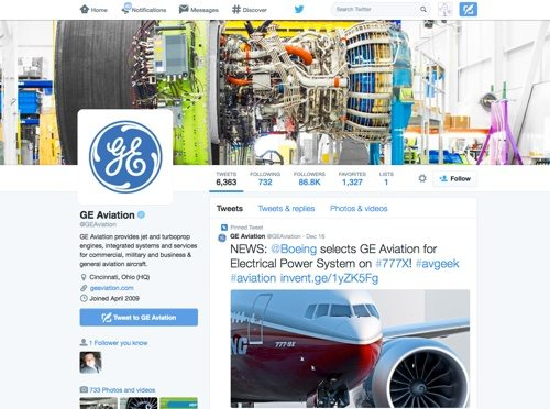 GE Aviation on Twitter.