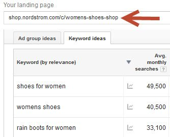 "Keyword ideas for the URL ""shop.nordstrom.com/c/womens-shoes-shop"" from Google Keyword Planner."