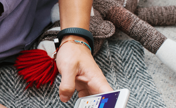 Wearable devices from Jawbone, such as this Up wristband, monitor the user's activity, to encourage a healthy lifestyle.
