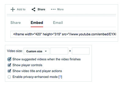 """You can also alter the appearance of embedded videos by clicking on the """"Share"""" and then """"Embed"""" tabs under any of your videos in your video library."""