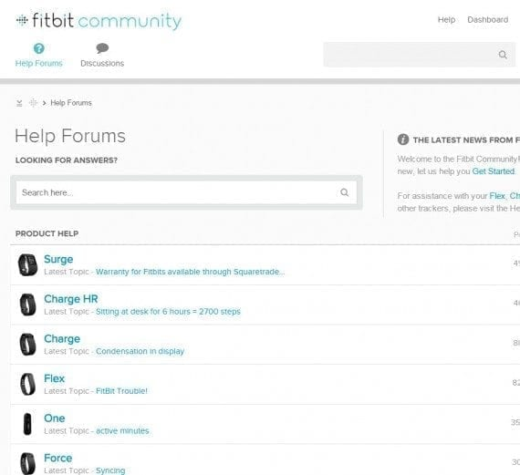 Shoppers can read Fitbit's community discussions, or peruse all the help files, before choosing to buy.