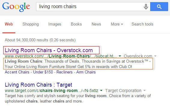 "Google search results for ""living room chairs."" The title and description fields greatly impact organic listings."