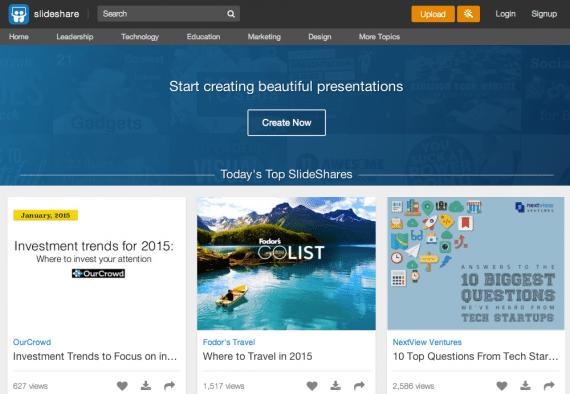 SlideShare home page.