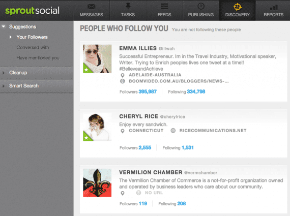 Discovery lets you see Twitter follower profiles.