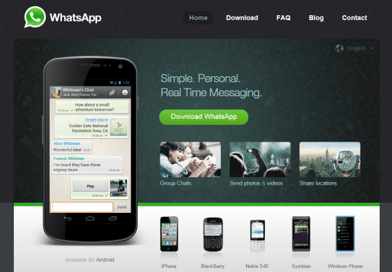 WhatsApp home page.