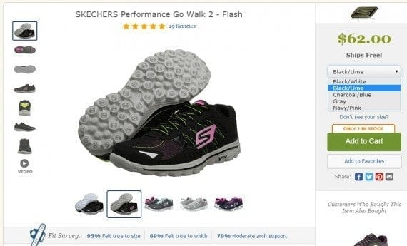 On a typical product page, shoppers can see which sizes and colors are available. Without filtered navigation, though, it takes more work to find what they want. Source: Zappos Filtering by various components can take place during the search process and the browse process (via categories and product lines).