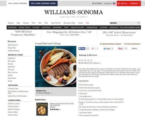 "A search for ""St. Patrick's Day"" on Williams-Sonoma's website returns 16 recipes for traditional Irish food."