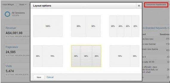 "Click on ""Customize Dashboard"" to customize the look and feel of your dashboard."