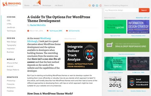 A Guide To The Options For WordPress Theme Development.