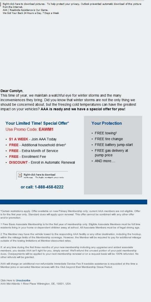This email from AAA has no opened images.
