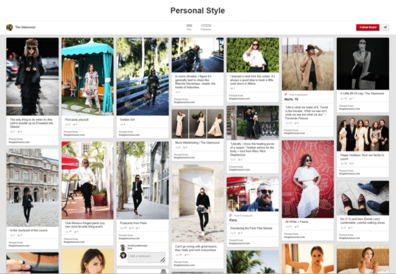 This Pinterest board, managed by New York-based blogger The Glamourai, features 290 pins related to fashion, and has 17,374 followers.