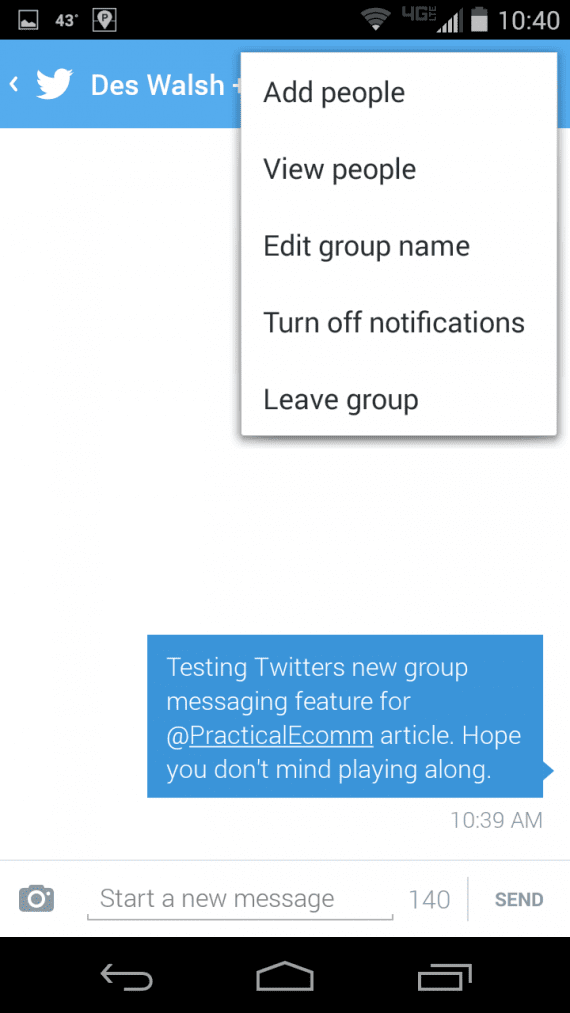Twitter group messaging options.