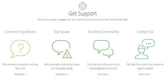 Adobe support also gives many options on obtaining help.