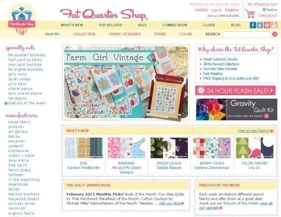 Fat Quarter Shop caters to quilters that typically shop by manufacturer, collection, designer, theme, or color. At this site one can quickly jump to her section or priority.
