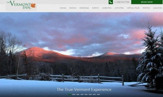 The Vermont Inn's website tackles everything a visitor would want to know right at the top, and on the home page using professional imagery.
