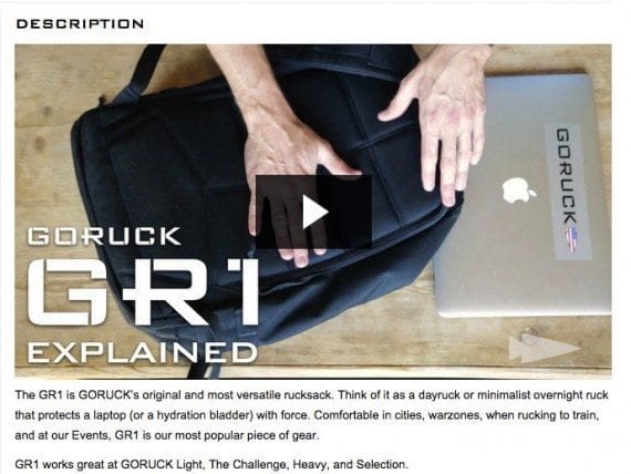 The GR1 video shows shoppers seemingly everything there is to know about the rucksack.