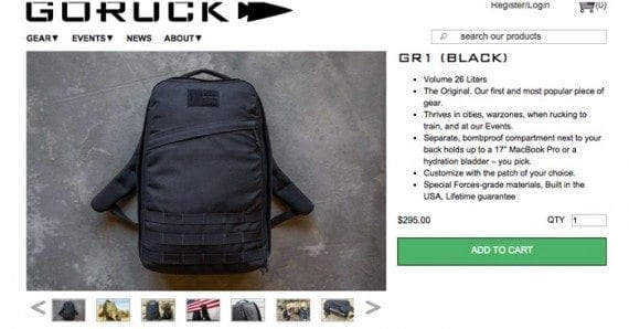 GORUCK has a basic product information section at the top of its product detail page.