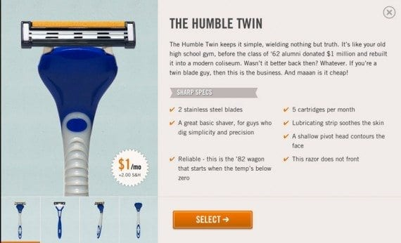 The Dollar Shave Club uses product descriptions to inform and entertain shoppers.