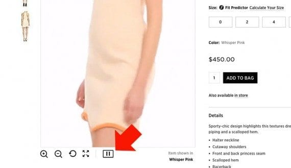 Saks Fifth Avenue's site includes product demonstration videos on many product detail pages.