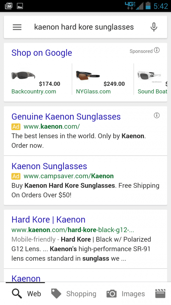 Kaenon, the sunglasses company, could benefit from using call-only campaigns, in the author's experience as a consumer.