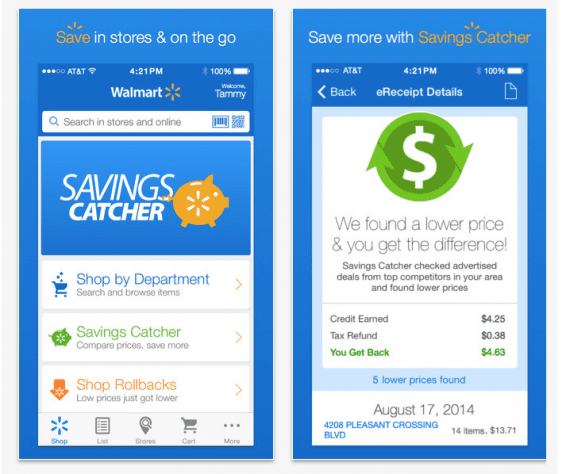 Walmart Savings Catcher, from the iTunes app store.