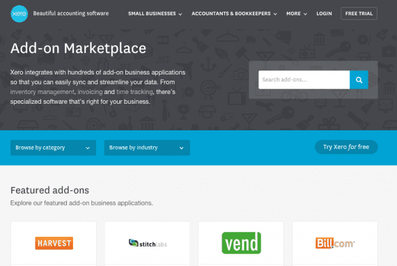 Xero's marketplace contains 350 add-ons.