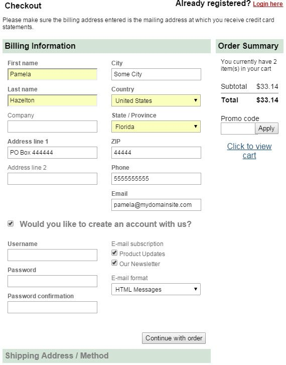 BuyAprons.com's checkout includes a checkbox for account creation. When checked, fields display for the desired username (which could be the email address), password, and email updates.