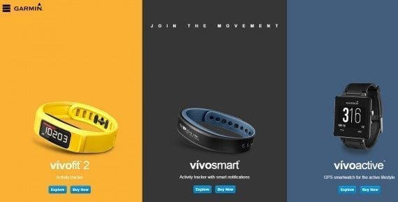 With scarce text, Garmin's landing page for the vivo line of trackers assumes visitors already know what it is.