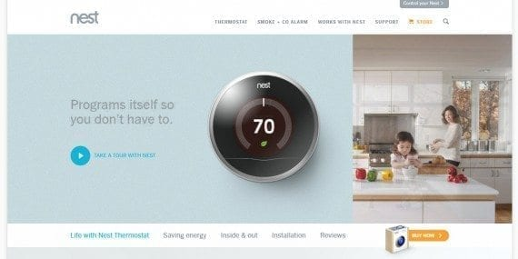 Landing page for the Nest Thermostat. From the start, it's not so clear what this product actually does, or that it's controllable via smartphone (which is point 5 on the page).